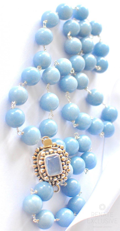 Gorgeous Natural Peruvian Angelite Necklace With Elegant Pendant Skybluelove Elegant Pendant Gemstone Jewelry Handmade Exclusive Designer Jewellery