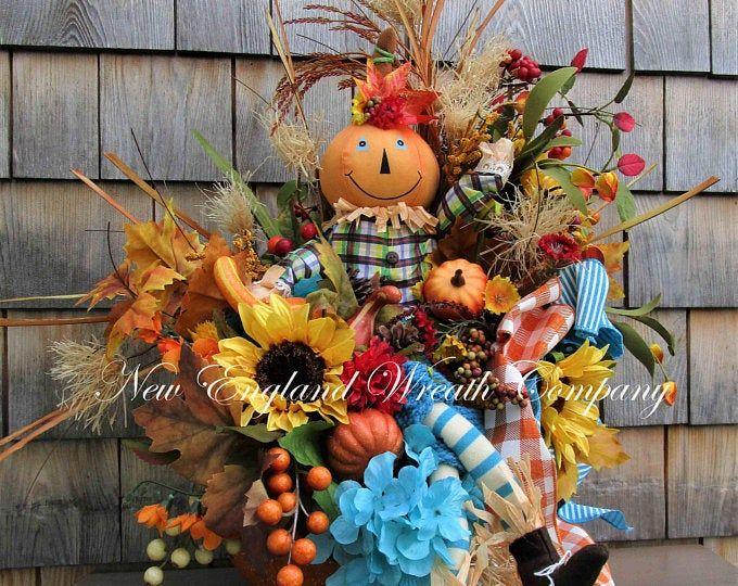 Fall Thanksgiving Pumpkin Scarecrow Wreath Cute Face Scarecrow Wreath Large Fall Deco Mesh Wreath Halloween Pumpkin Wreath