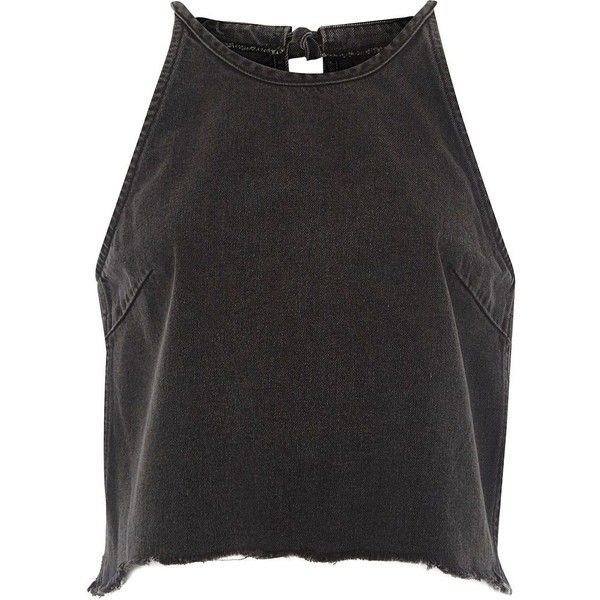 River Island Black washed denim sleeveless crop top ($60) ❤ liked on Polyvore featuring tops, crop tops, tank tops, black, crop tops / bralets, women, bralet crop top, cut-out crop tops, tall tops and tie crop top