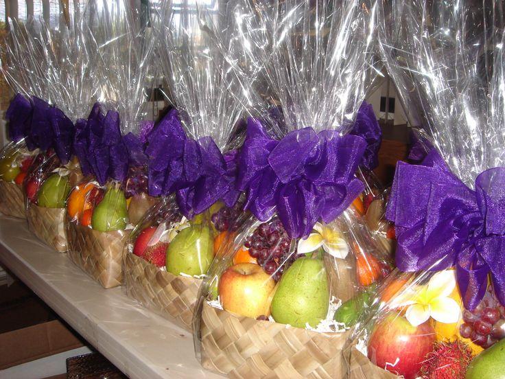 "Fruit baskets delivered at a resort in Waikiki, O'ahu, Hawai'i.     Exquisite Basket Expressions  ""Distinctive Hawaiian Gourmet Basket"""