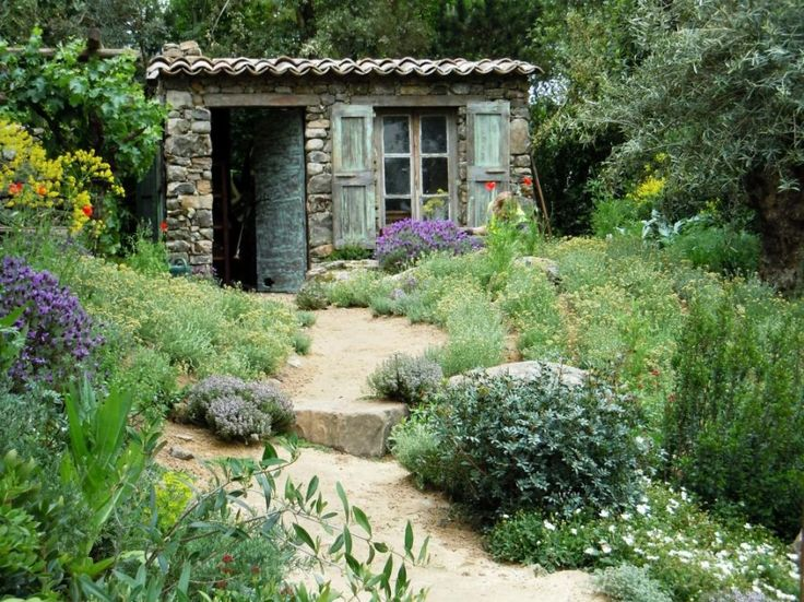 Terrific French Country Garden Design With Rustic Small House Feat Brick  Wall Stone : The Romance Part 92