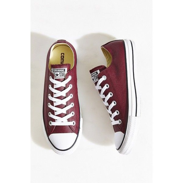 Converse Chuck Taylor All Star Seasonal Leather Sneaker ($65) ❤ liked on Polyvore featuring shoes, sneakers, converse, maroon, maroon shoes, star sneakers, polish leather shoes, star shoes and converse shoes