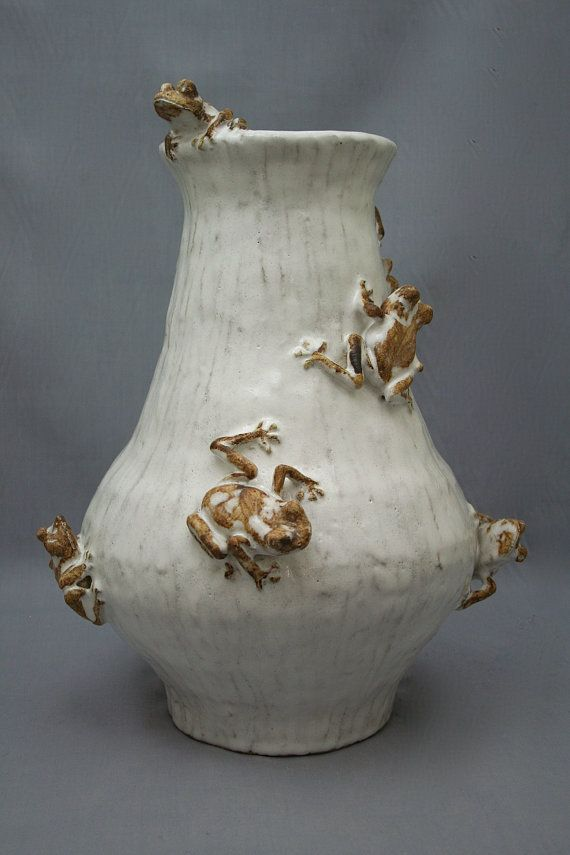 Large Ceramic Tree Frog Vase by Shayne Greco Beautiful Mediterranean Sculpture Pottery