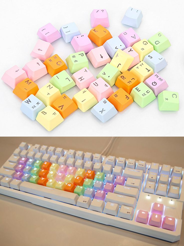 Pastel Rainbow Double Shot PBT Keycaps with Puller for Cherry MX Backlight Gaming Keyboards