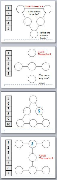 mental and oral maths powerpoint- addition puzzles (same sum on every line)