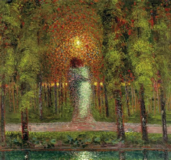 'Gli amanti', 1907, Gerardo Dottori  Another pinner writes: The use of colour and light draws the eye to the central figures and creates the romantic atmosphere.