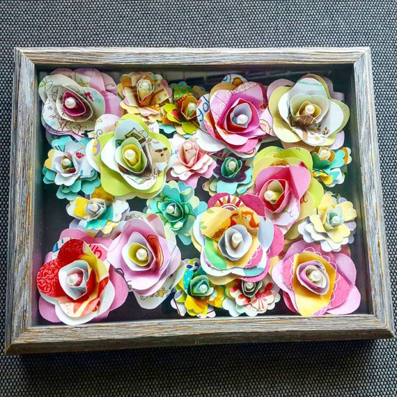 Poster relative all'arte del fiore di carta