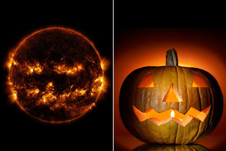"This is Halloween coming for us! LMAO ""Stunning snap of the sun and solar flares captured by NASA looks just like a Halloween pumpkin"""