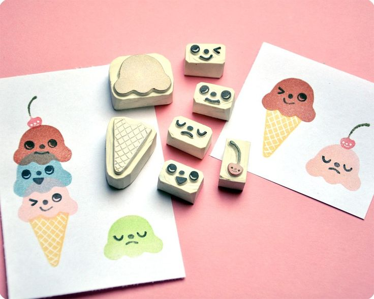 Ice cream changing face hand carved rubber stamp set of 7
