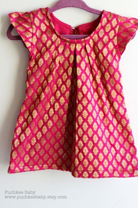 Pretty Brocade Shift Dress (Pink or Yellow) for Baby Girl/ Toddler (12 mo) on Etsy by Puchkee Baby @ www.puchkeebaby.etsy.com