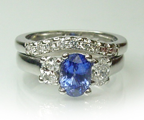 Chibnalls Custom made fitted diamond wedding ring for Chibnalls custom made Ceylon Sapphire and diamond Engagement ring all in 18ct white gold and handcrafted.