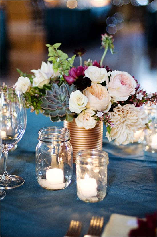 DIY Bronze floral centerpieces. Floral Design: Loop Flowers ---> http://www.weddingchicks.com/2014/05/08/fill-your-wedding-with-love-and-adventure/