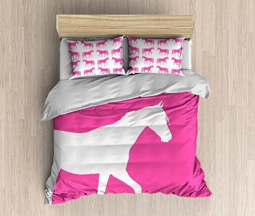Horse Duvet Cover,Doona Cover, Comforter Cover,Bubble Gum Pink White, Home Decor, Girls Room Bedding, Horse Bedding, Choose Your Colors! by HLBhomedesigns on Etsy https://www.etsy.com/listing/258130427/horse-duvet-coverdoona-cover-comforter