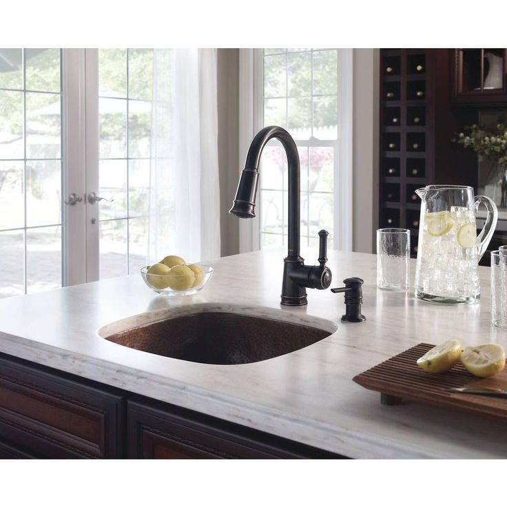 MOEN Lindley Single Handle Pull Down Sprayer Kitchen Faucet With Reflex And  Soap Dispenser