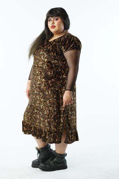 Vintage 90s Velvet Cheetah Dress with Ruffles - 2X/3X