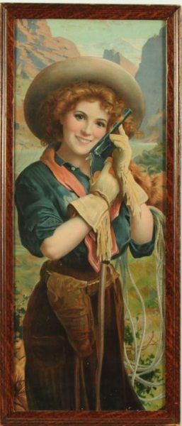 Hopkins & Allen Arms Co. Cowgirl Litho Sign.  She is just too cute and I love her western look!