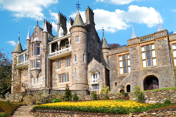 No. 2: Château Rhianfa, Wales  This French gothic-styled château sits majestically above the Menai Strait and is pretty much the picture perfect castle every girl dreamt of inhabiting as a child.