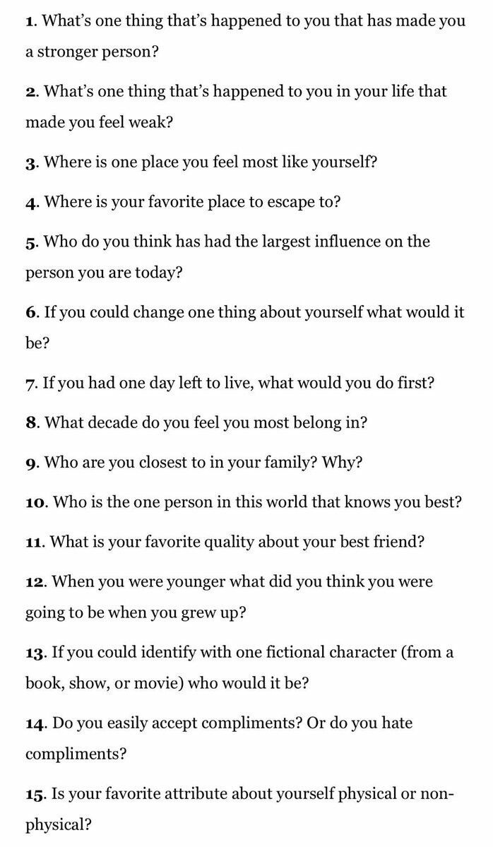 Questions to get to know someone (I)