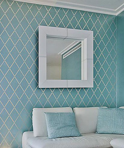 Harlequin Trellis Allover Stencil - Using this one for our master bedroom accent wall! Probably in either high gloss or silver paint...