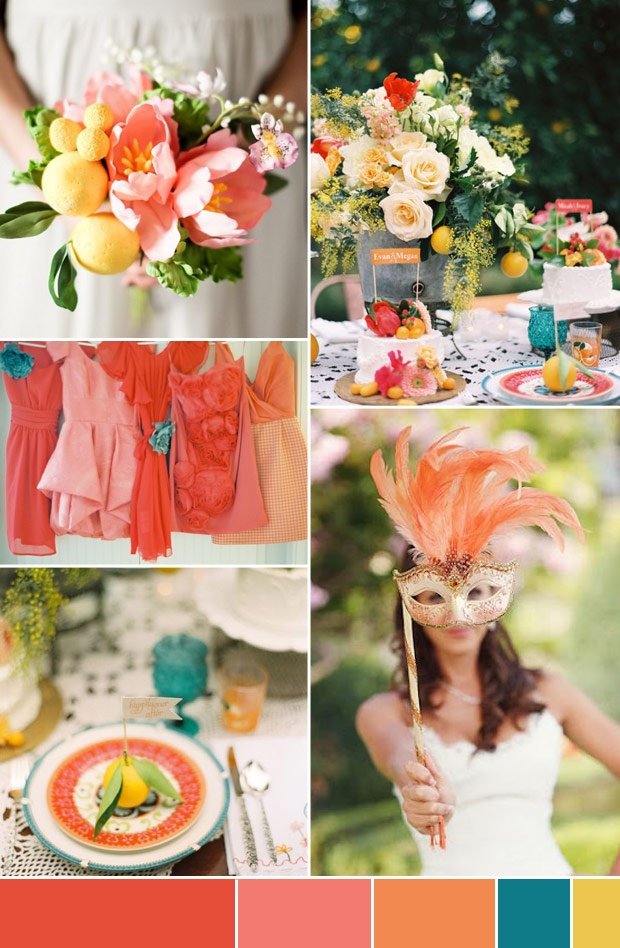 Brazilian Wedding Inspiration. Yellow and orange wedding bouquet, table decor and bridesmaid dresses.