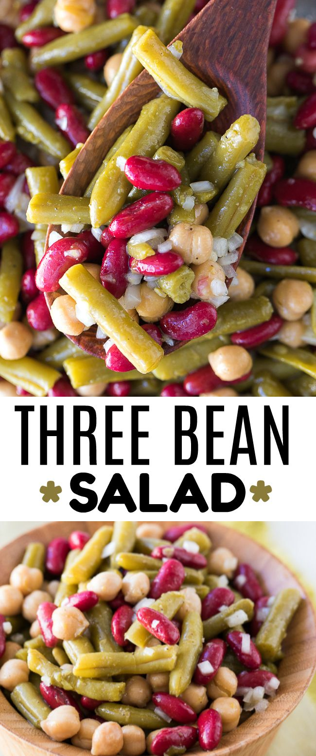 Three Bean Salad Recipe - This easy three bean salad is a tasty summer potluck classic that I love making over and over!