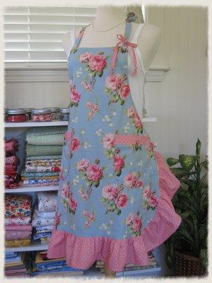 Barefoot Roses Ruffled Bib Apron by anniegaprons on Etsy