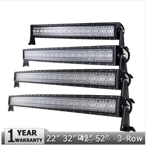 "New 3-Row 14"" 22"" 32"" 42"" 50"" 52""CREE Chips Curved LED Light Bar Offroad Combo Beam Led Work Light for Pick-Up 6000K - $102.99"