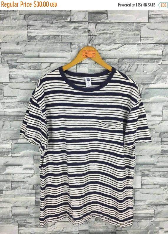 GAP Striped T shirt Large Vintage 90's Gap Jeans Usa Border Stripes Rockabilly Grunge Surfer Oversize Tee Skater T shirt Size L
