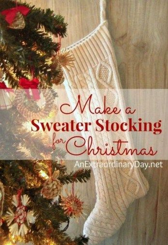 Sweater Christmas Stockings | DIY Christmas Stockings | Homemade Christmas Project, see more at https://diyprojects.com/diy-christmas-stockings-homemade-christmas-project