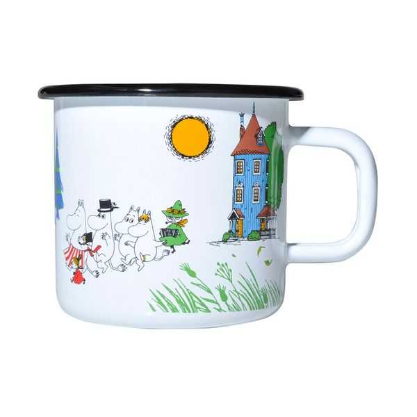 Moomin Valley Enamel Mug  The Moomin Enamel mugs are extremely durable and easy to take care of. This makes them the perfect mugs for your home, your cottage or even your boat!
