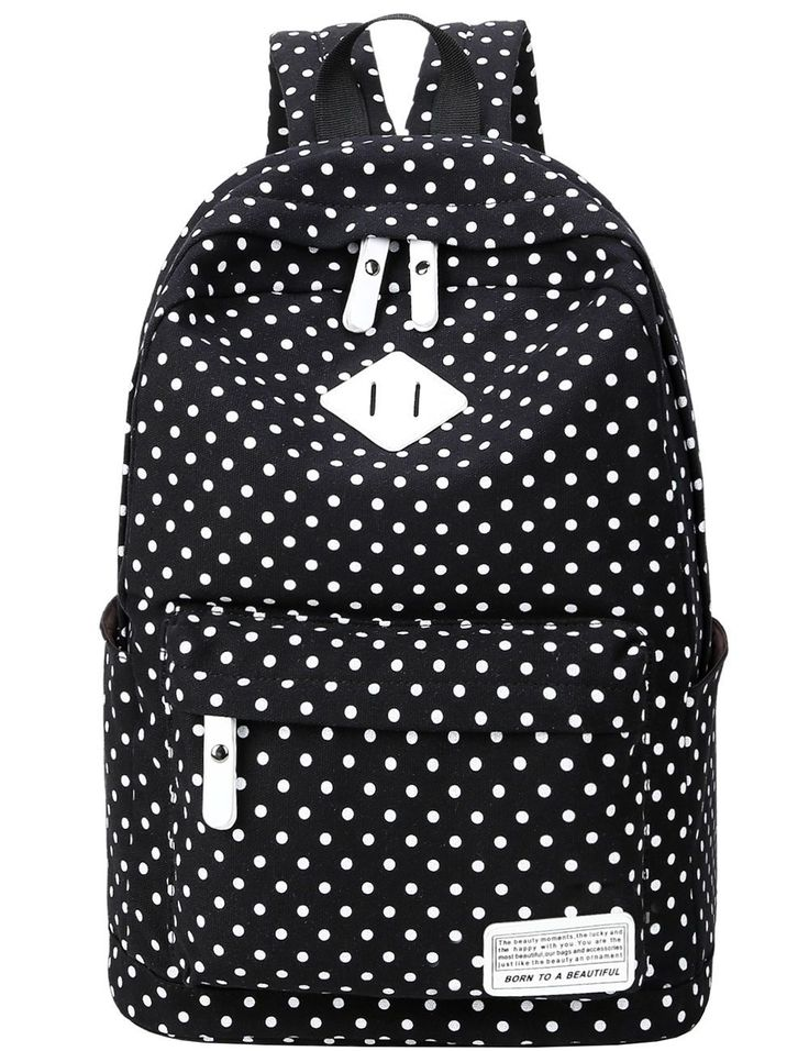 Mygreen Dot Casual Canvas Backpack Bag Cute Lightweight Backpacks For Teen Girls