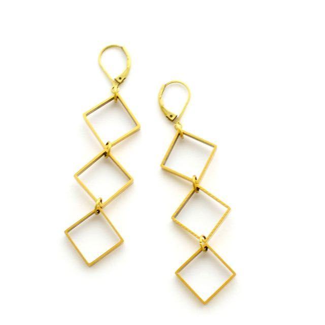 Geometric Brass Square Earrings/Minimalist/Long Earrings on Carousell