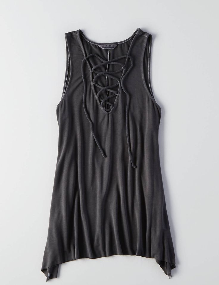 AEO Soft & Sexy Lace-Up Jegging Tank, Clouded Ink | American Eagle Outfitters