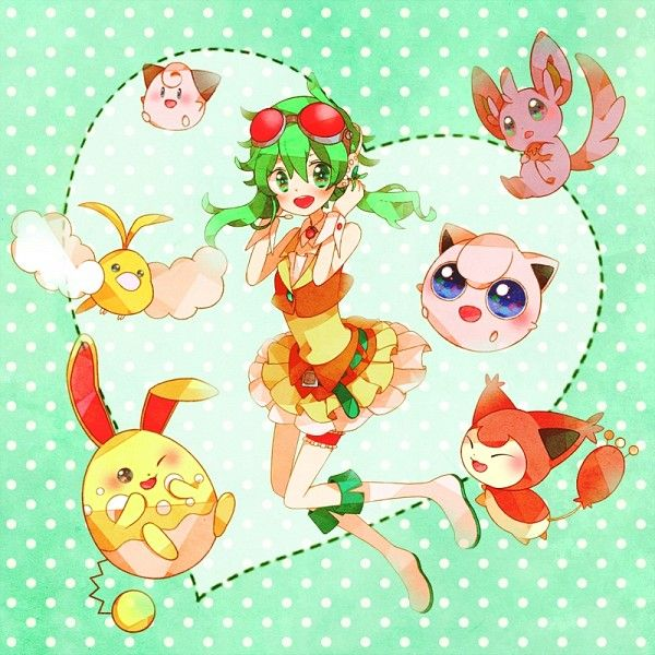 Gumi with Cleffa, Jigglypuff, Skitty, shiny Swablu, shiny Azumarill, and shiny Minccino