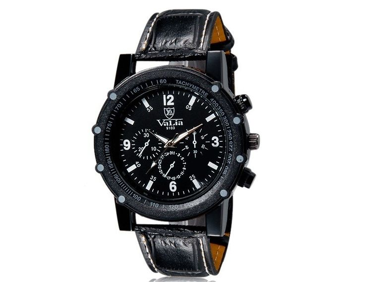 Fashion Analog Watches with High Quality Faux Leather Strap Wrist Watch for Men