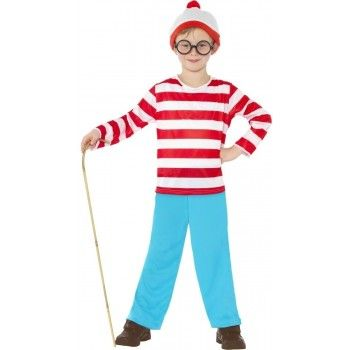 The BEST Boys Wheres Wally Costume with striped top, blue pants, bobble hat and glasses!