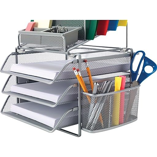 Awesome All In One Silver Wire Mesh Desk Organizer 27642 Home Remodeling Inspirations Cosmcuboardxyz