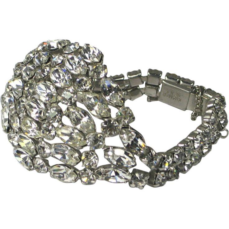 Vintage Kramer of NY Crystal Rhinestone Bracelet offered by The Vintage Jewelry Boutique a Ruby Lane Shop
