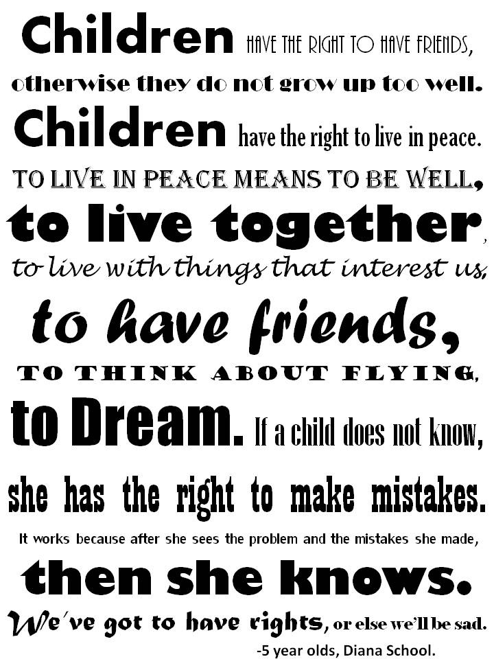 Children's Rights poster for the classroom. (Printout