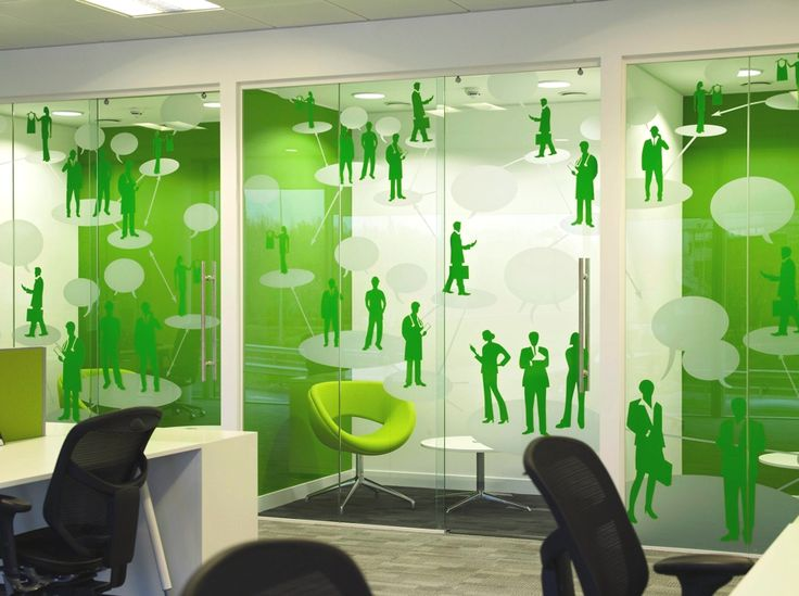 contemporary office design england 05 office window manifestation in green and frosted