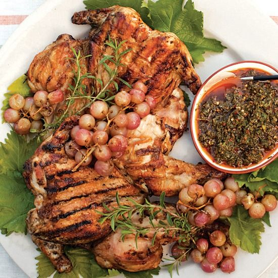 Marinating chickens overnight seasons them all the way through; grilling them under a brick makes the skin crisp.