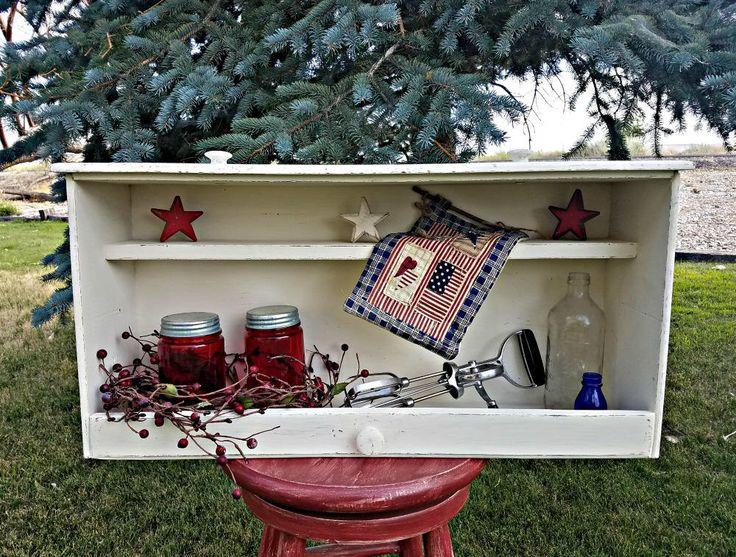 Wall Shelf, Upcycled Drawer Shelf, Vintage Drawer Shelf, White Distressed, Vintage Shadow Box, Old Drawer Shelf, Shabby Chic Shelf by PurposefulRepurpose on Etsy https://www.etsy.com/listing/543891393/wall-shelf-upcycled-drawer-shelf-vintage