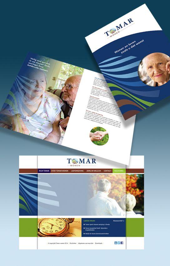 Design a corperate brochure and website for Tomar Wonen.   Voor Tomar Wonen een ontwerp voor een bedrijfsbrochure en voor de website. Huisvesting voor oudere met dementie.