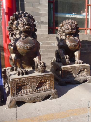 "42"" OLD Huge China Bronze Gild Carved Finely FOO Dogs Lion Pair Statues 