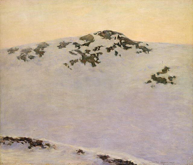 AUGUSTUS VINCENT TACK    Windswept (Snow Picture, Leyden),  circa 1900-1902  Oil on canvas 31 1/8 x 36 1/4 in I think the artist changed the image of snow that could have been very beautiful to show it as barren or less than life.