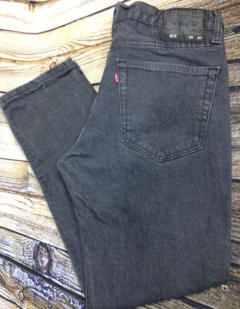 LEVI'S 511 Black Wash Slim Skinny Jeans Sz 36 x 30 Men's Stretch Actual 34 x 29 #Levis #SlimSkinny