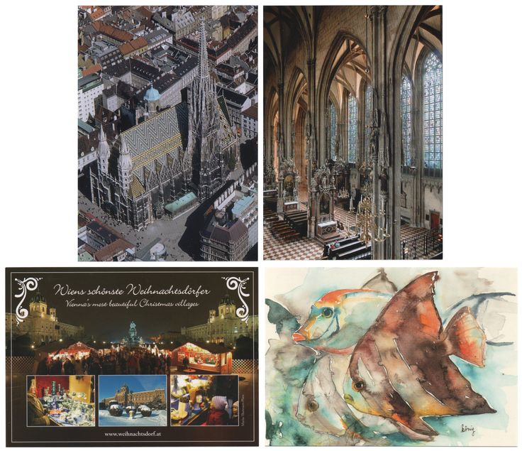 From Wien - I bought them between 2017.11.24 and 11.26   ---   Top row: St. Stephen's Cathedral; Bottom row: Christmas Market at Maria-Theresien Platz and Fish illustrationfrom the Haus des Meeres