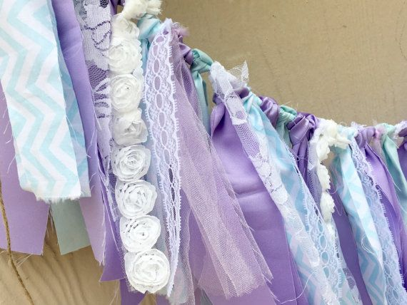 Mermaid Banner Frozen Birthday Lavender Aqua Fabric by LoveSews
