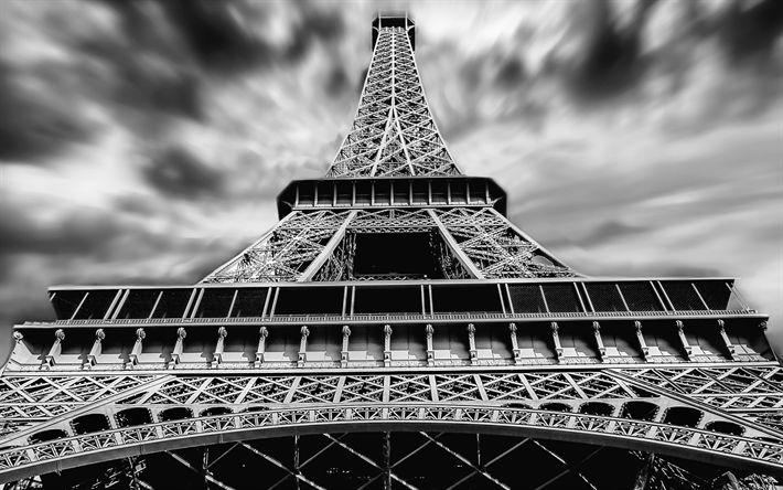 Lataa kuva Eiffel-Torni, yksivärinen, taivas, pilvet, Pariisi, Ranska