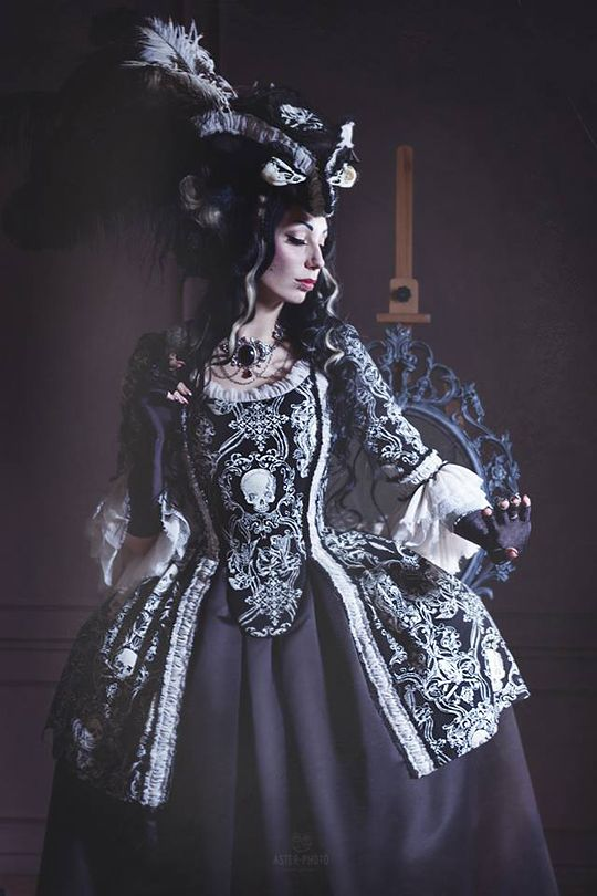"""Gothic Rococo Jacket Dress by Alice-Corsets Skulls Model Katrin Lanfire"
